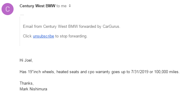 Shame On Century West Bmw
